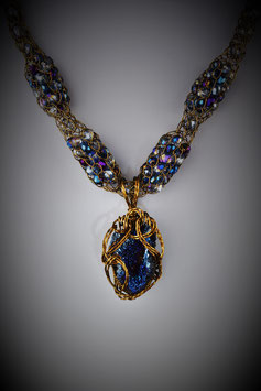 """Deep Blue Druzy Pendant on a """"Shades of Sapphire"""" Alternating Beaded French Knit Necklace"""