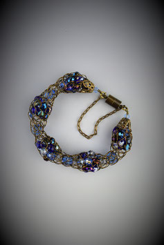 """Shades of Blue Sapphire"" Alternating Beaded French Knit Bracelet"