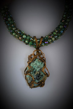 "Columbian Emerald Pendant on a ""Shades of Emerald"" Beaded French Knit Necklace"