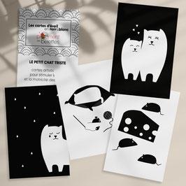 Carte artistique d'éveil en noir et blanc - Le petit chat triste - chanson