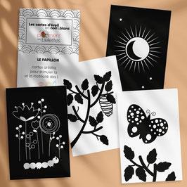 Carte artistique d'éveil en noir et blanc - LE PAPILLON - comptine