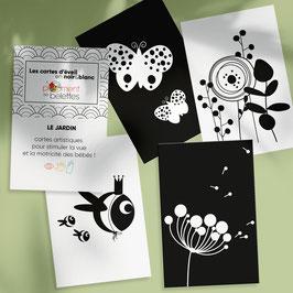 Carte artistique d'éveil en noir et blanc - LE JARDIN