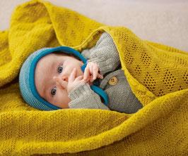 couverture tricotée ajourée unie, Disana