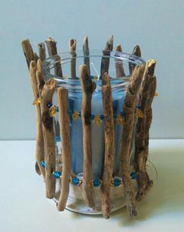 Windlicht oder Vase mit Schwemmholz