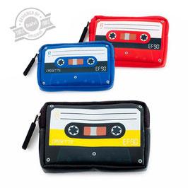 Porte monnaie cassette audio bleu