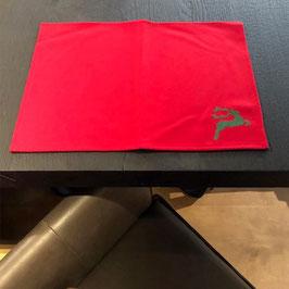 Lodentischset rot mit dunkelgrünem Hirsch