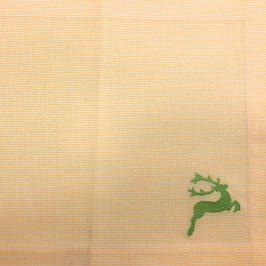 Tischset gelb weiß kariert mit hellgrünem Hirsch