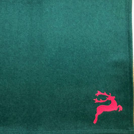 Lodentischset dunkelgrün mit rotem Hirsch