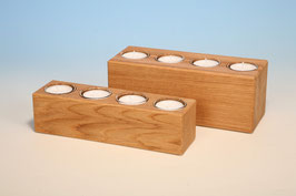 4er Teelichthalter aus Eichenholz