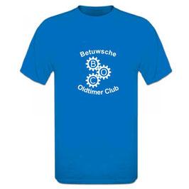 T-Shirt blauw met opdruk voor- en achterzijde