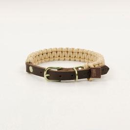 Leder-Segeltau-Halsband beige