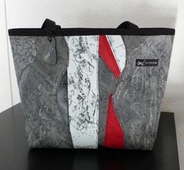 Shopper Patchoptik grau/weiss/rot