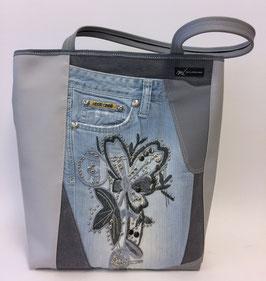 Einkaufstasche mit Jeanselement h'grau mit Blumenapplikation