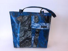 Patchoptik-Shopper dunkelblau/schwarz