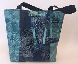 Einkaufstasche Patchoptik türkis/blau