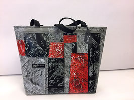 Patchoptik-Shopper grau/schwarz/rot
