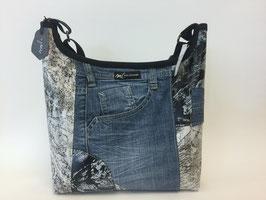 Umhängetasche mit Jeans-Element rund