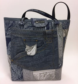 Einkaufstasche mit Jeanselement d'blau/grau