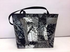 Patchoptik-Shopper schwarz/weiss/grau