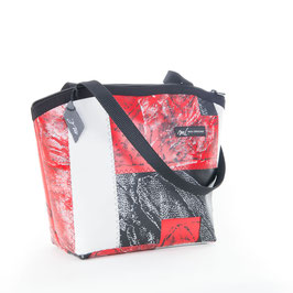 halbrunde Handtasche klein rot/weiss/schwarz