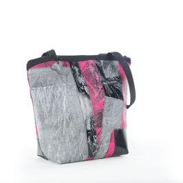 Handtasche Patchwork halbrund grau/pink/schwarz