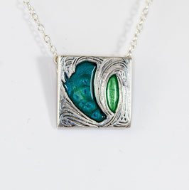 Square Fleur Necklace in greens