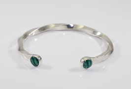 Sterling silver heavy torq style bracelet set with amazonites