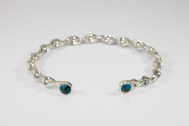 Sterling silver heavy torq style bracelet set with gorgeous turquoise with copper