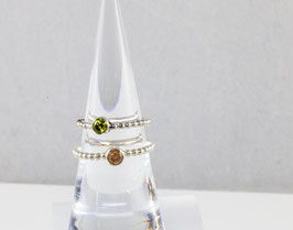 Silver Ball Ring with your gem of choice