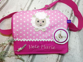Kindergartentasche SCHAF pink rosa Sterne mit Name