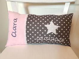Namenskissen Sterne Kissen Babykissen rosa/grau mit Stern
