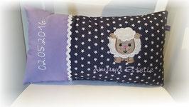 Namenskissen Kissen Schaf lila /grau