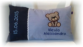 Namenskissen Kissen Name Teddy blau
