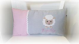 Namenskissen Kissen Schaf rosa/grau