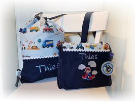 KOMBI Kindergartentasche & Turnbeutel Flugzeug mit Name