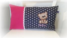 Namenskissen Kissen Name Teddy pink/grau