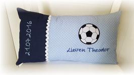Namenskissen Kissen  Fußball blau