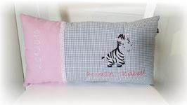 Namenskissen Kissen Zebra rosa