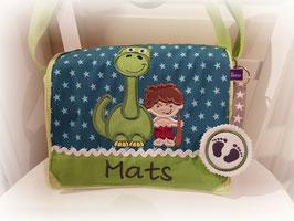 Kindergartentasche Dino und Höhlenmensch grün
