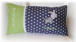 Namenskissen Kissen Zebra grün