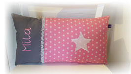 Namenskissen Sterne Kissen Babykissen STERN rosa