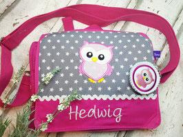 Kindergartentasche EULE pink hellgrau mit Name
