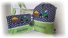 KOMBI Kindergartentasche & Turnbeutel Trecker mit Anhänger Name