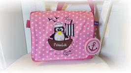 Kindergartentasche PINGUIN pink mit Name
