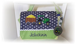 Kindergartentasche Trecker und Anhänger grün