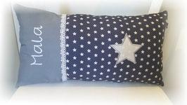 Namenskissen Sterne Kissen Babykissen STERN grau