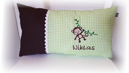Namenskissen Kissen Affe braun/grün