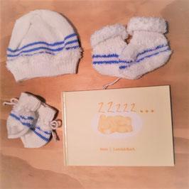 Set aus Fotoalbum, Babymütze , Handschuhe und Babyschühchen