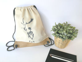 """Hirsch"" Leinensportbeutel natur aus Fair Trade Canvas"