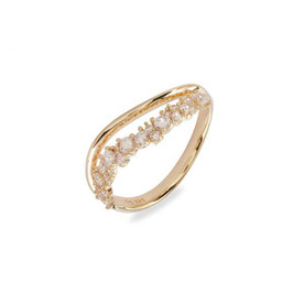 Vilmas | Ring | Champagne Sparkle Two-Lane Wave Gelb